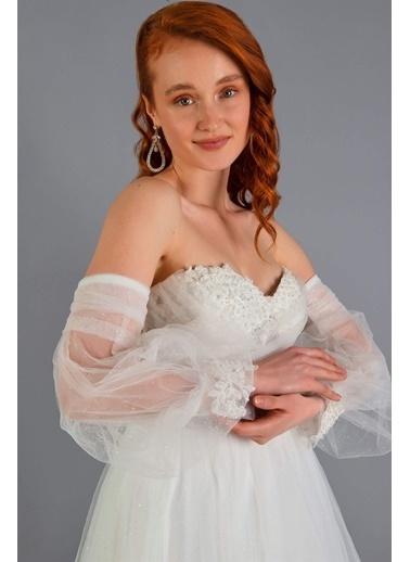 Carmen Tüllü Düşük Kol Nişanlık Abiye Elbise Ekru